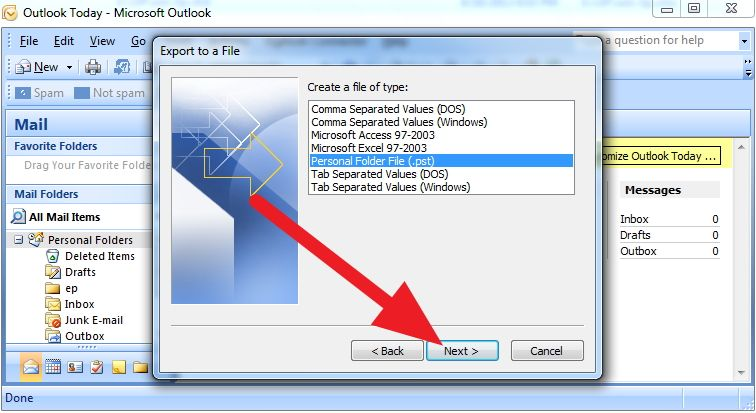 how to create personal folders in ms outlook